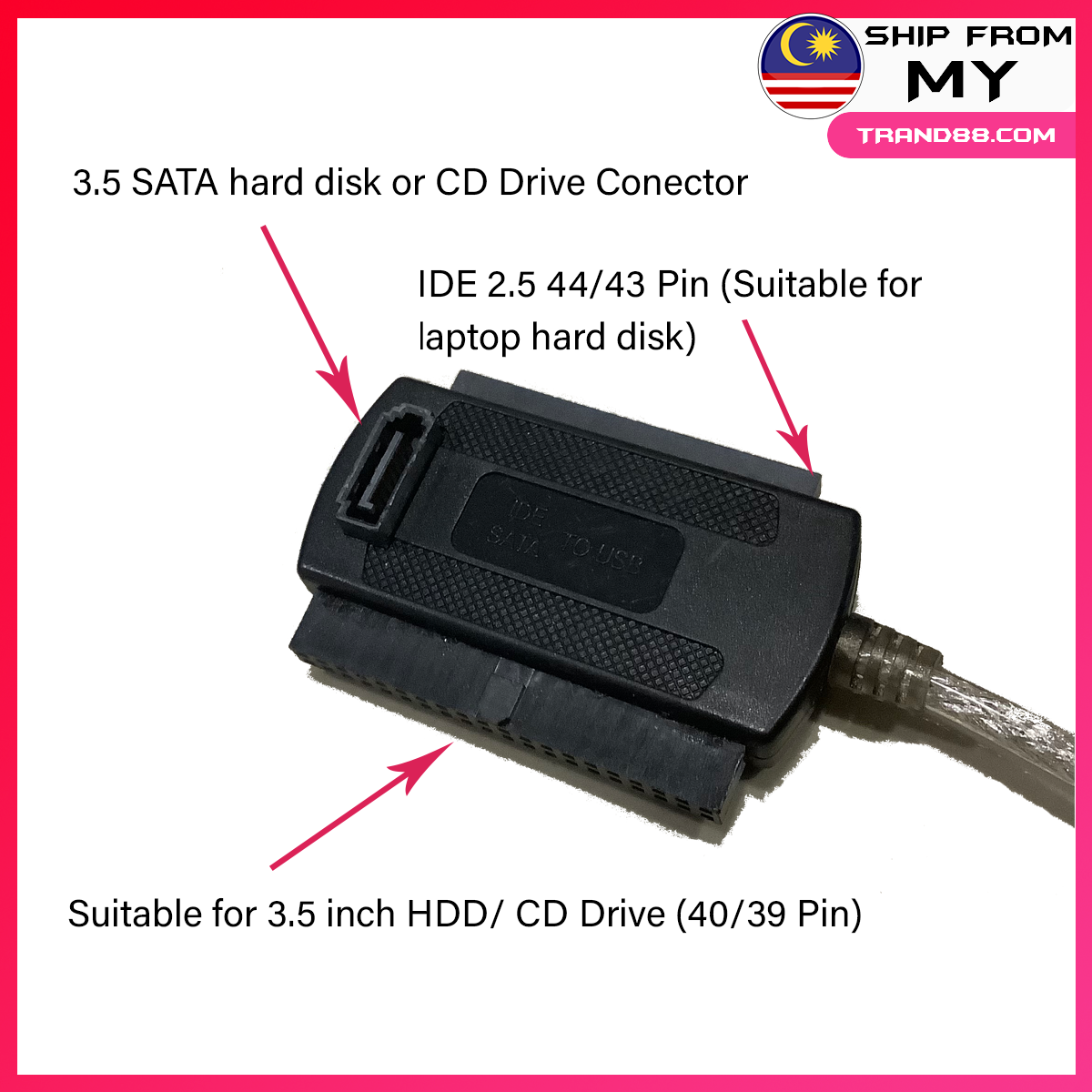 IDE/ SATA/ PATA To USB Adapter Converter Cable 2.5/3.5 Inch Hard Drive HDD