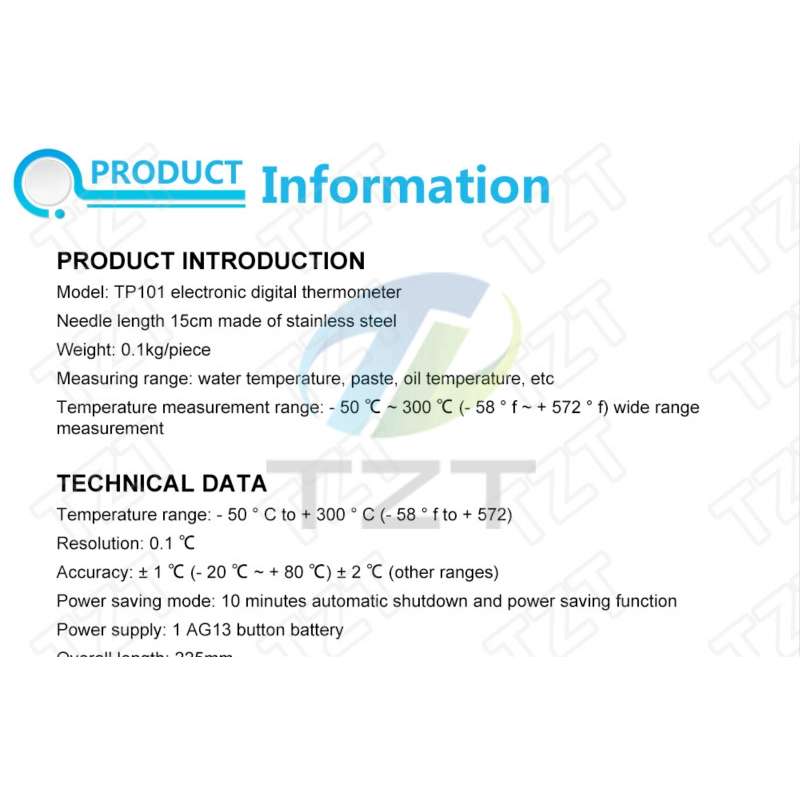 TP101 Digital Thermometer Cooking Food Kitchen BBQ Probe Water Milk Oil Liquid Oven Car Aircond