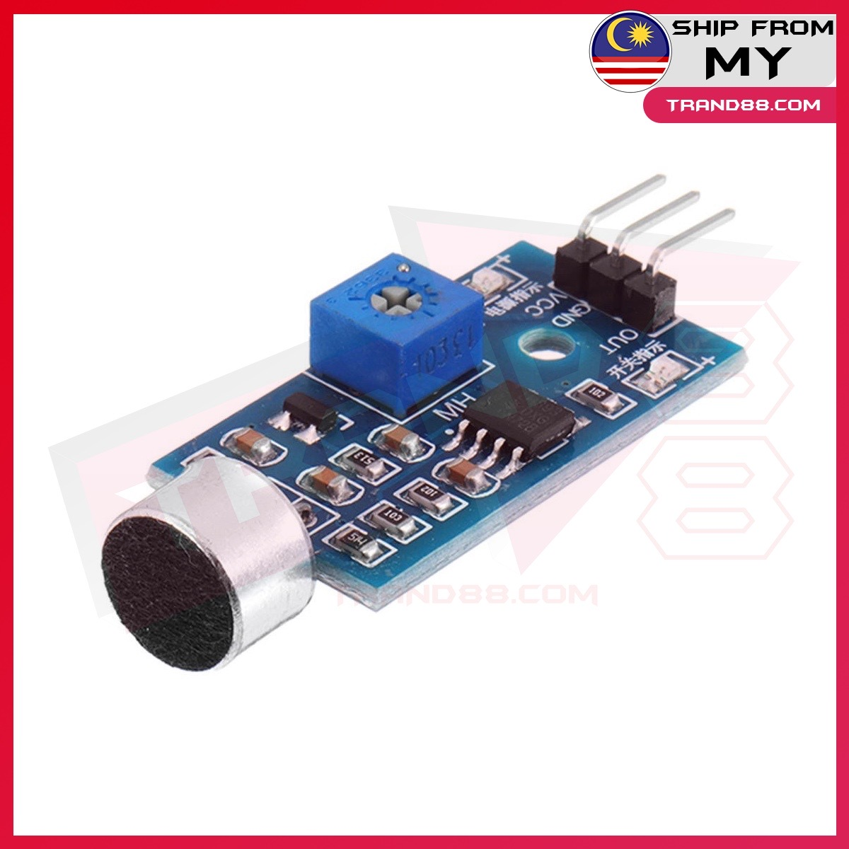 Sound Detection Mic Sensor Module Microphone Voice Adjustable For Arduino 3 Pin